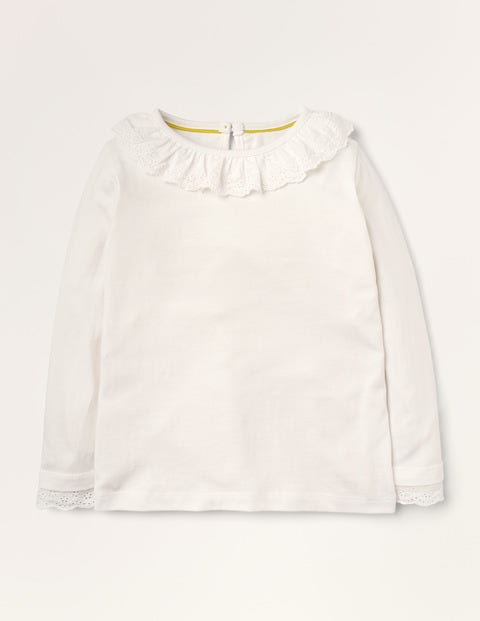 Broderie Collar Jersey Top - Ivory
