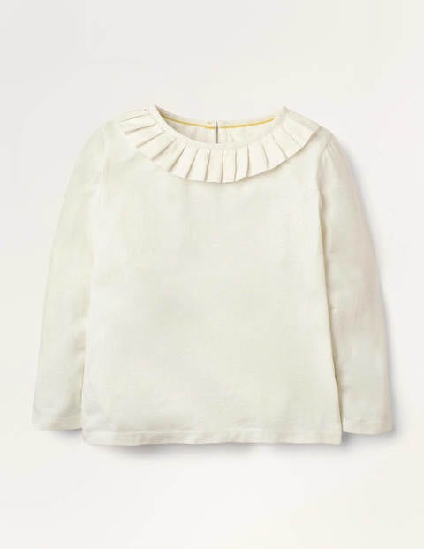 Pleated Collar Jersey Top - Ivory