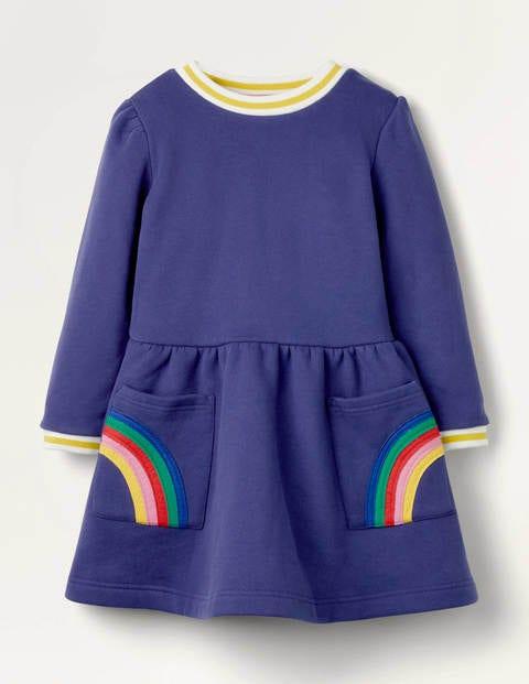 Appliqué Pocket Dress - Starboard Blue Rainbow