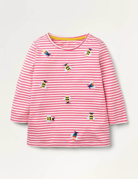 Embroidered Stripy T-shirt - Ivory/ Bright Camellia Bee