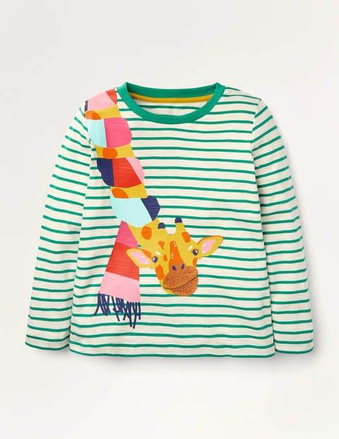 T-Shirt mit Tiermotiv - Ivory/ Sardinia Green Giraffe