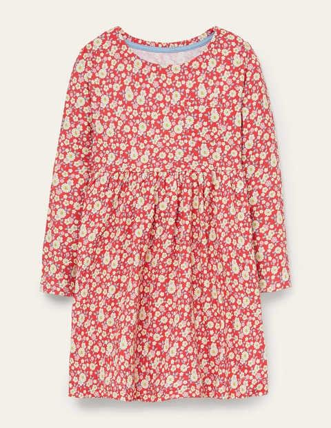 Fröhliches Jerseykleid mit langen Ärmeln - Kirschtomatenrot, Vintage-Gänseblümchen