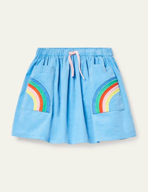 Rainbow Pocket Woven Skirt - Frosted Blue Rainbow
