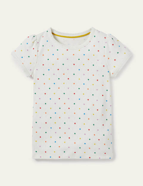 Short-Sleeved Pointelle Top - Ivory Multi Little Star