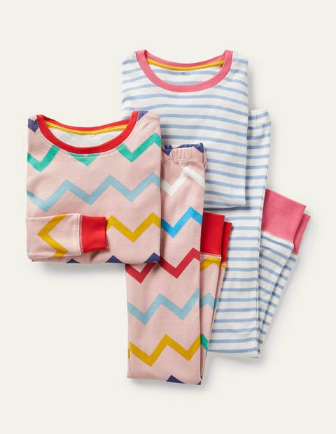 Twin Pack Long John Pyjamas - Rainbow Chevron/ Blue Stripe