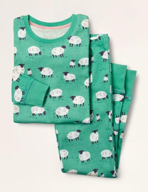 Pyjama long cosy - Mouton vert asperge