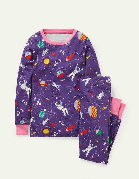 Bequemer langer Schlafanzug - Juwelenviolett, Weltallabenteuer