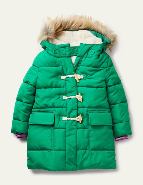 Bright Green Longline Padded Coat