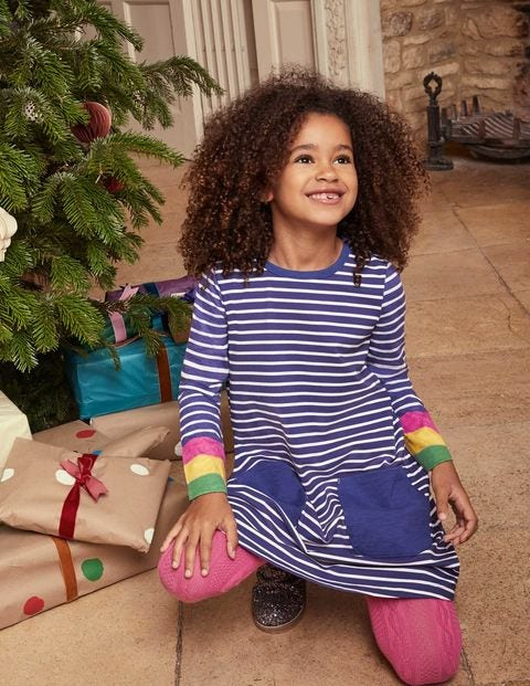 Fun Pocket Jersey Dress - Starboard Rainbow Cuff