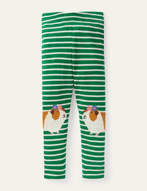 Fun Appliqué Leggings - Green/ Ivory Guinea Pigs