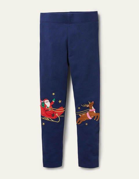 Fun Appliqué Leggings - Starboard Blue Reindeer
