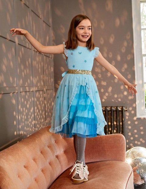 Tiered Tulle Party Dress - Light Celeste Blue Stars