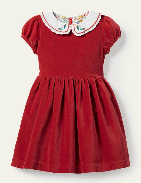 Collared Velvet Party Dress - Rockabilly Red