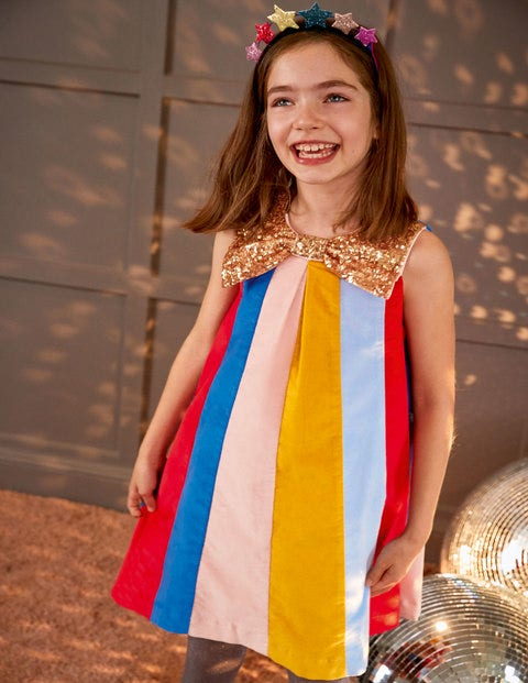 Sparkle Bow Rainbow Dress - Rockabilly Red Multi Stripe