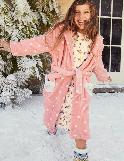 Cosy Cat Pocket Dressing Gown - Boto Pink Spot Cat