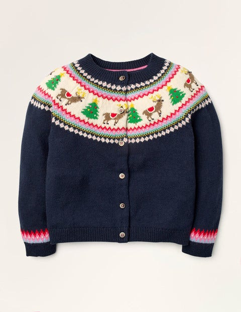 Cosy Fair Isle  Cardigan - College Navy Reindeer