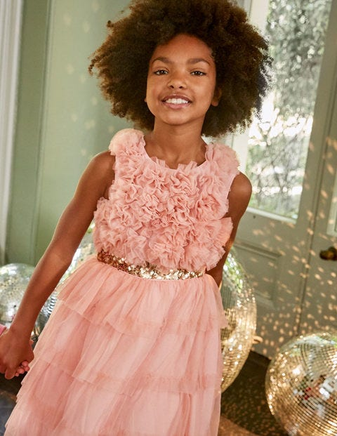 Ruffle Tulle Party Dress - Provence Dusty Pink