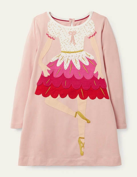 Festive Big Appliqué Dress - Boto Pink Ballerina