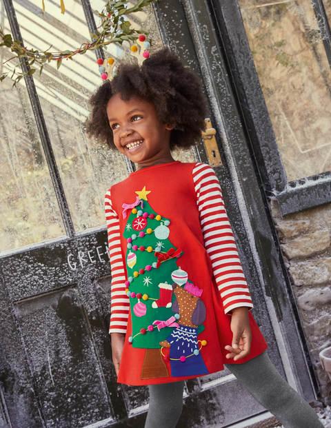 Festive Big Appliqué Dress - Rockabilly Red Christmas Tree
