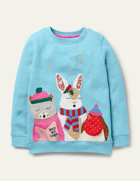 Sweatshirt mit festlichen Freunden - Eisblau, Festliche Tiere