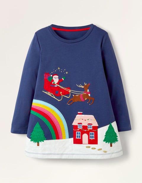 Tunika mit weihnachtlicher Applikation - Segelblau, Weihnachten
