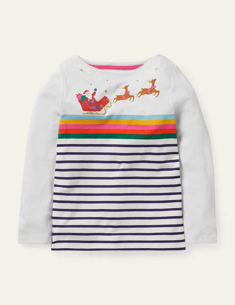 Christmas Rainbow T-shirt - College Navy/ Ivory Sleigh