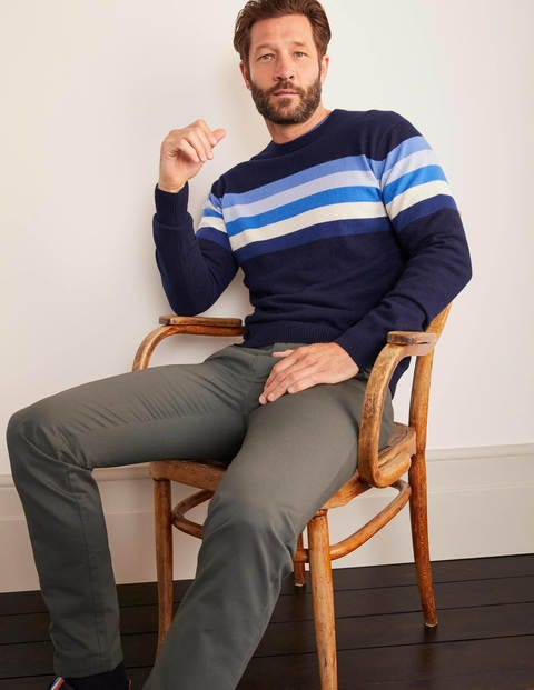 Cashmere Crew Neck - Blues Colourblock Stripe