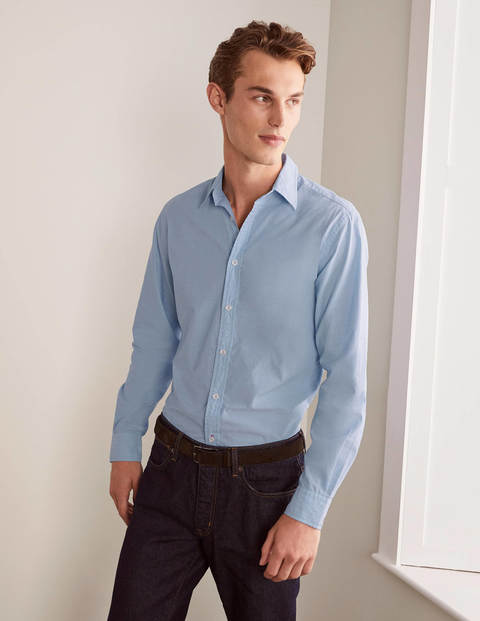 Slim Fit Poplin Cutaway Collar - Blue End on End