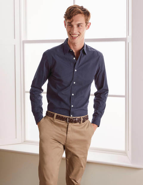 Slim Fit Poplin Cutaway Collar - Navy