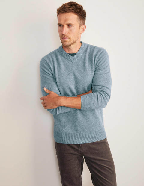 Lambswool V-neck - Topaz Blue