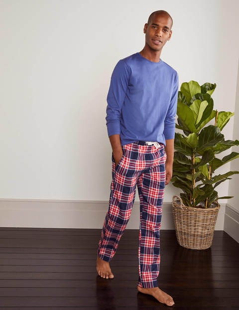Brushed Cotton Pyjama Bottoms - Navy Blue/Red Check