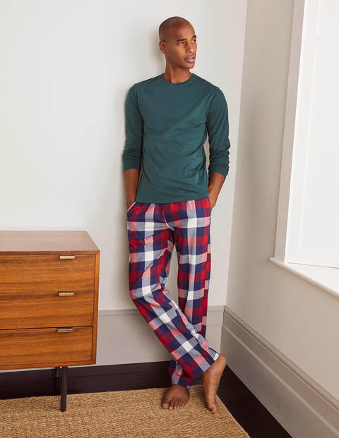 Brushed Cotton Pyjama Bottoms - Navy Blue/Red Gingham