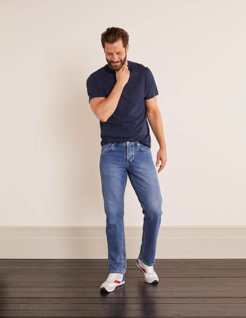 Straight Leg Jeans - Blue Wash Denim