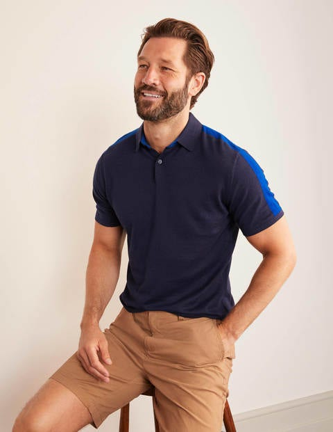 Finsbury Knitted Polo - Blues Colourblock