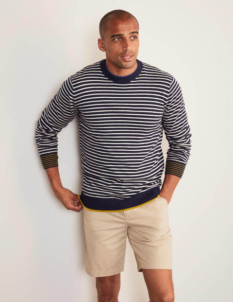 Lambswool Crew Neck - Navy/Ecru