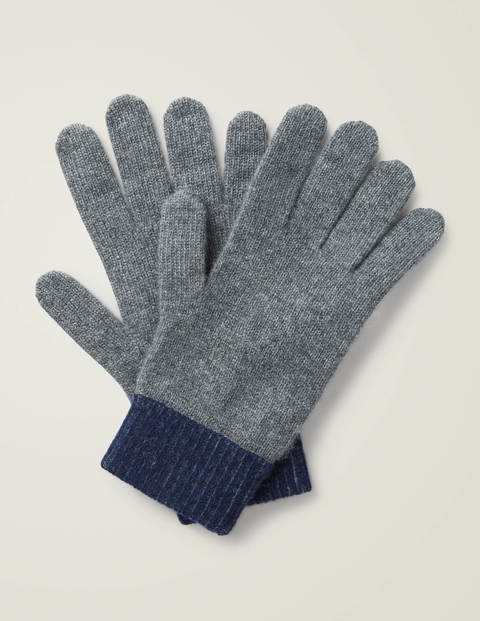 Ribbed Cashmere Gloves - Charcoal/ Navy