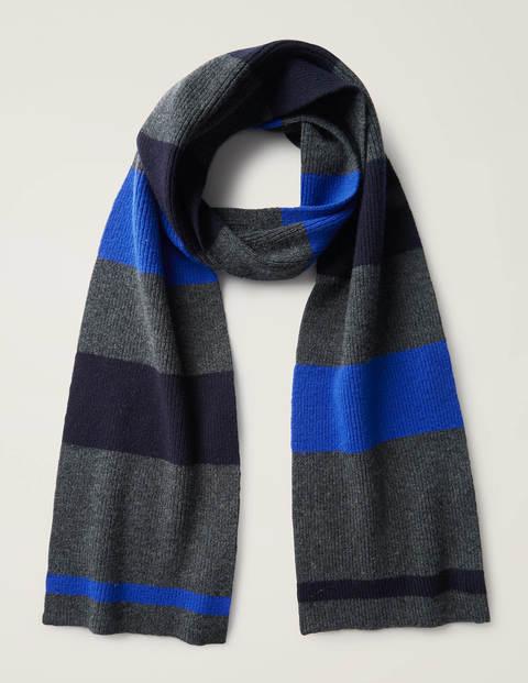 Striped Merino Scarf - Blues/ Charcoal Marl Stripe