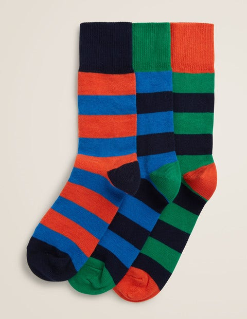 Chunky Weekend Socks - Multi Block Stripe Pack