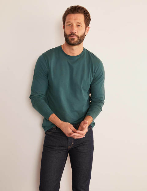 Long Sleeve Washed T-shirt - Emerald Night Green