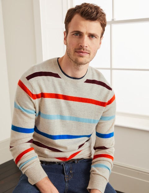 Cashmere Crew Neck - Multi Stripe