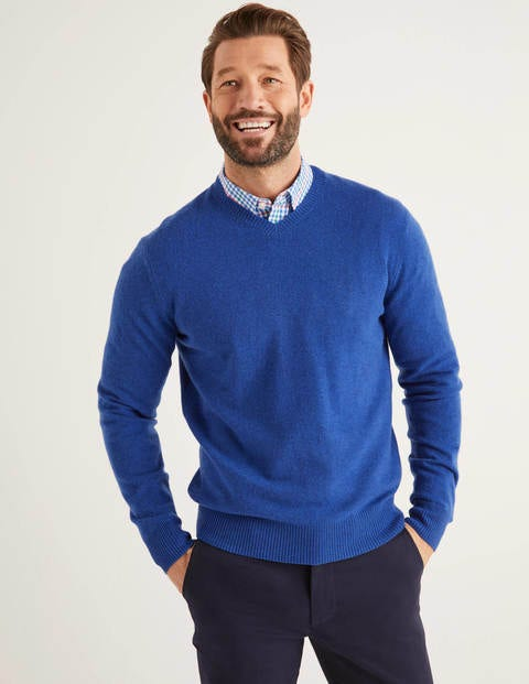 Cashmere V-neck - Bright Blue Melange