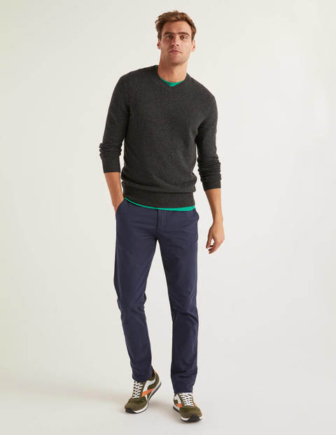 Cashmere V-Neck - Dark Grey Marl