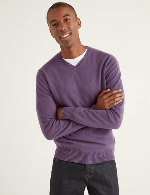Cashmere V-neck - Grape Jam