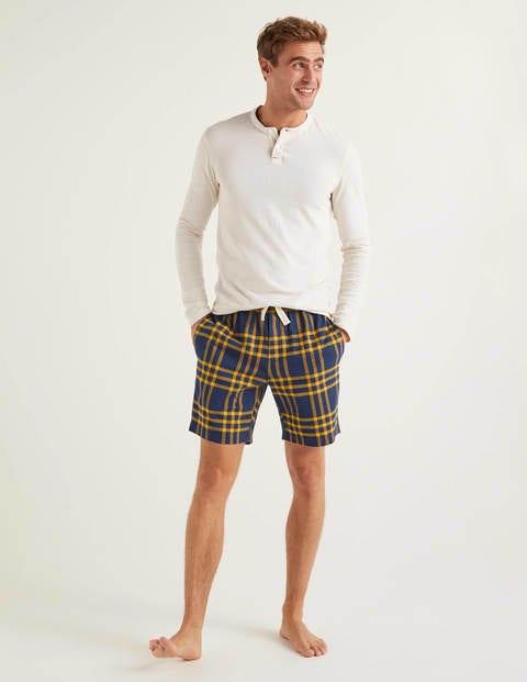 Brushed Cotton Pajama Shorts - Navy Blue/Saffron Check