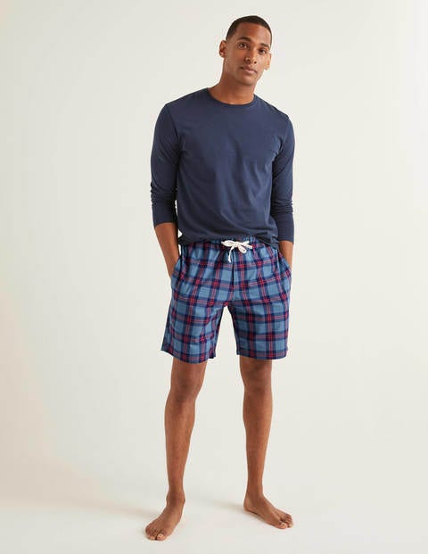 Cotton Poplin Pyjama Shorts - Storm/Summer Poppy Check