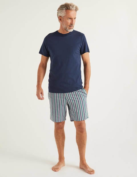 Cotton Poplin Pyjama Shorts - Blues/Rich Emerald Stripe