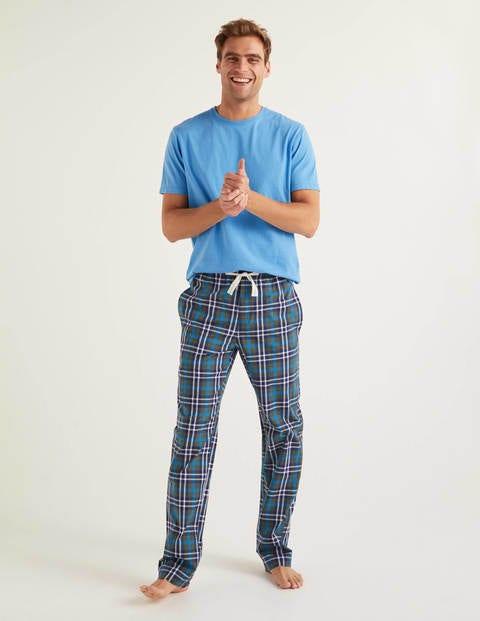 Cotton Poplin Pyjama Bottoms - Richmond Green Multi Check