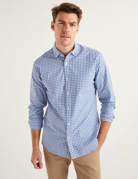 Slim Fit Poplin Pattern Shirt - Sky Blue Gingham