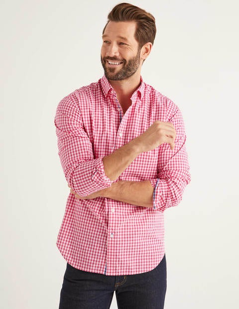 Slim Fit Poplin Pattern Shirt - Rose Blossom Gingham
