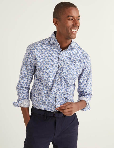 Slim Fit Poplin Pattern Shirt